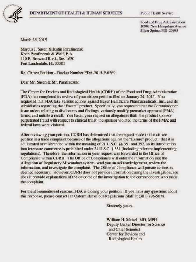 EssureFDA Letter