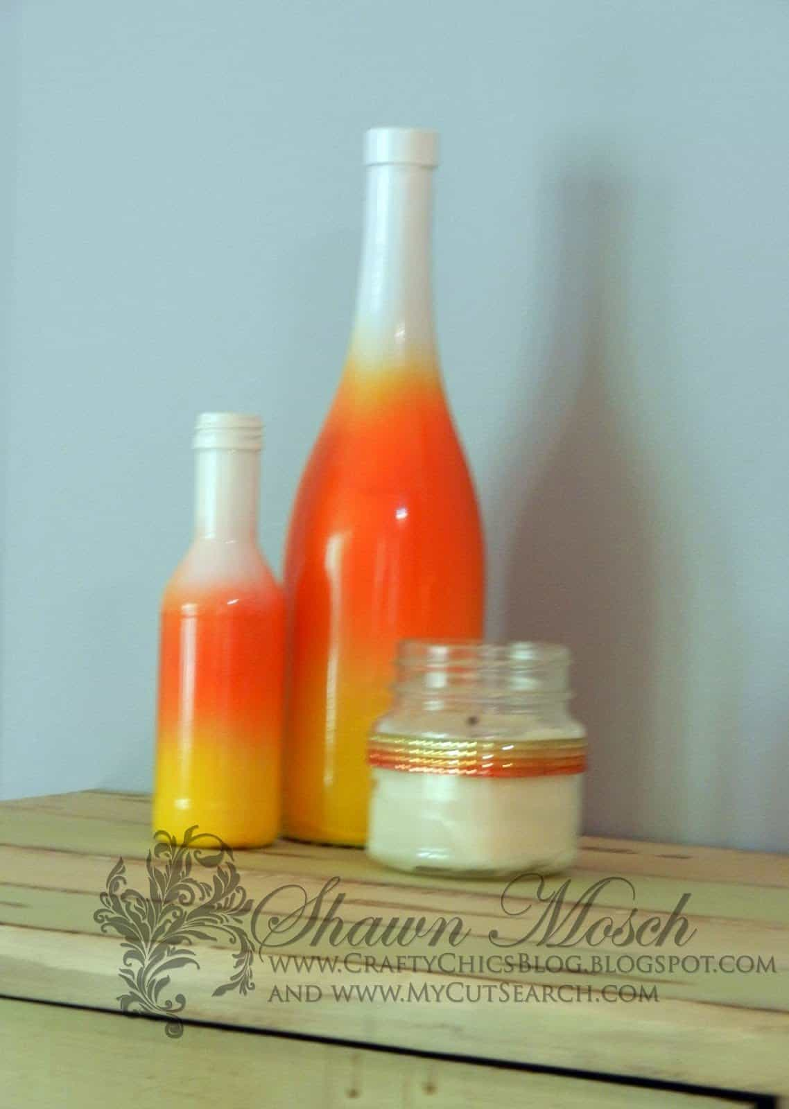 candy corn wine bottle