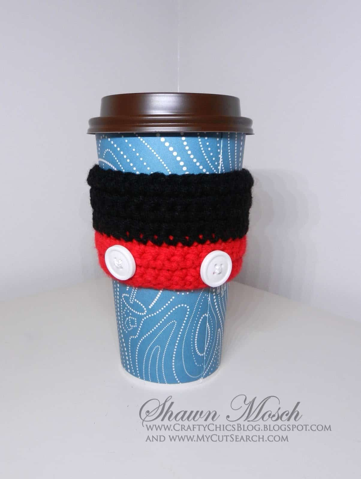 crocheted Mickey Mouse coffee sleeve