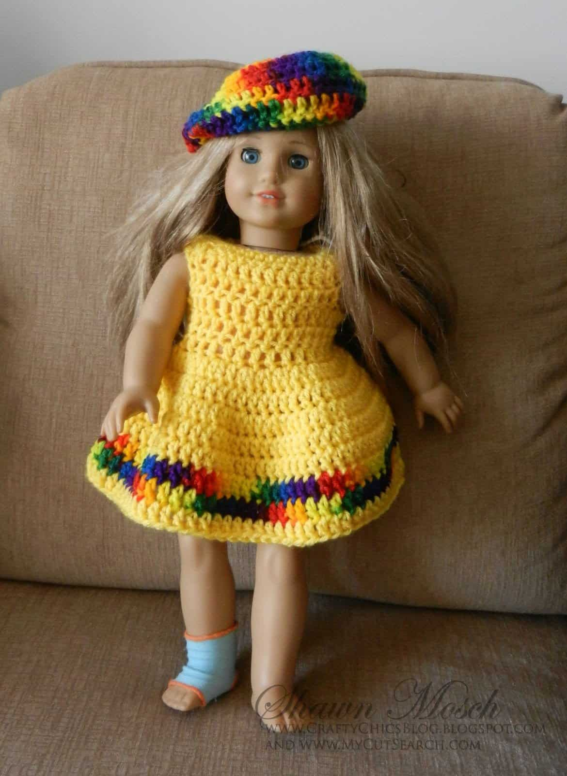 crocheted American Doll Dress