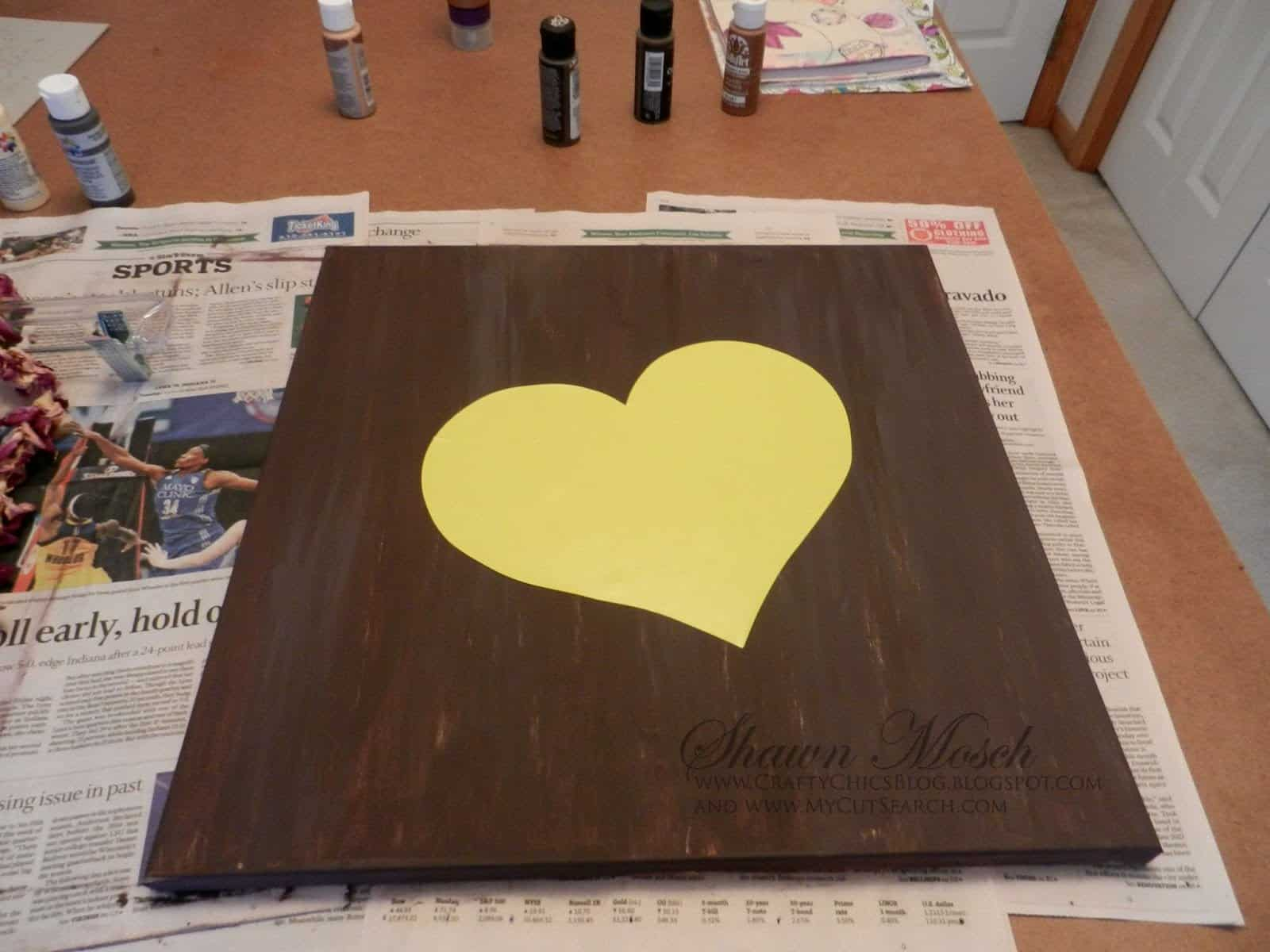 heart template on painted canvas