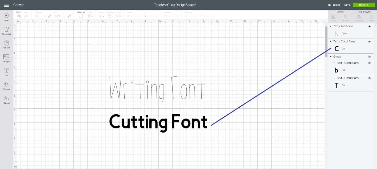 writing font or cutting font in Cricut Design Space