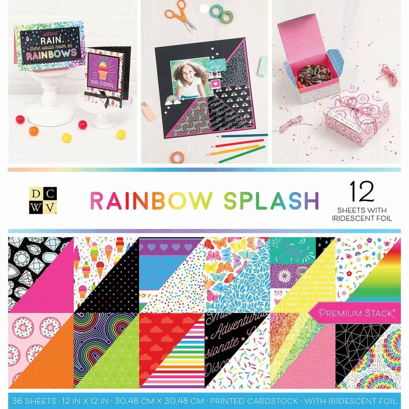 Rainbow splash cardstock DCWV