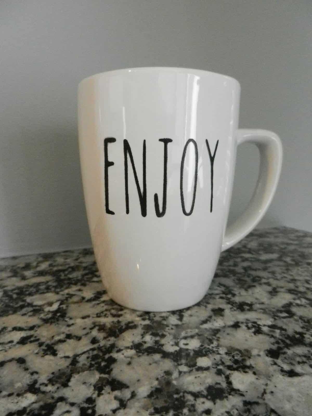 stencil on a mug
