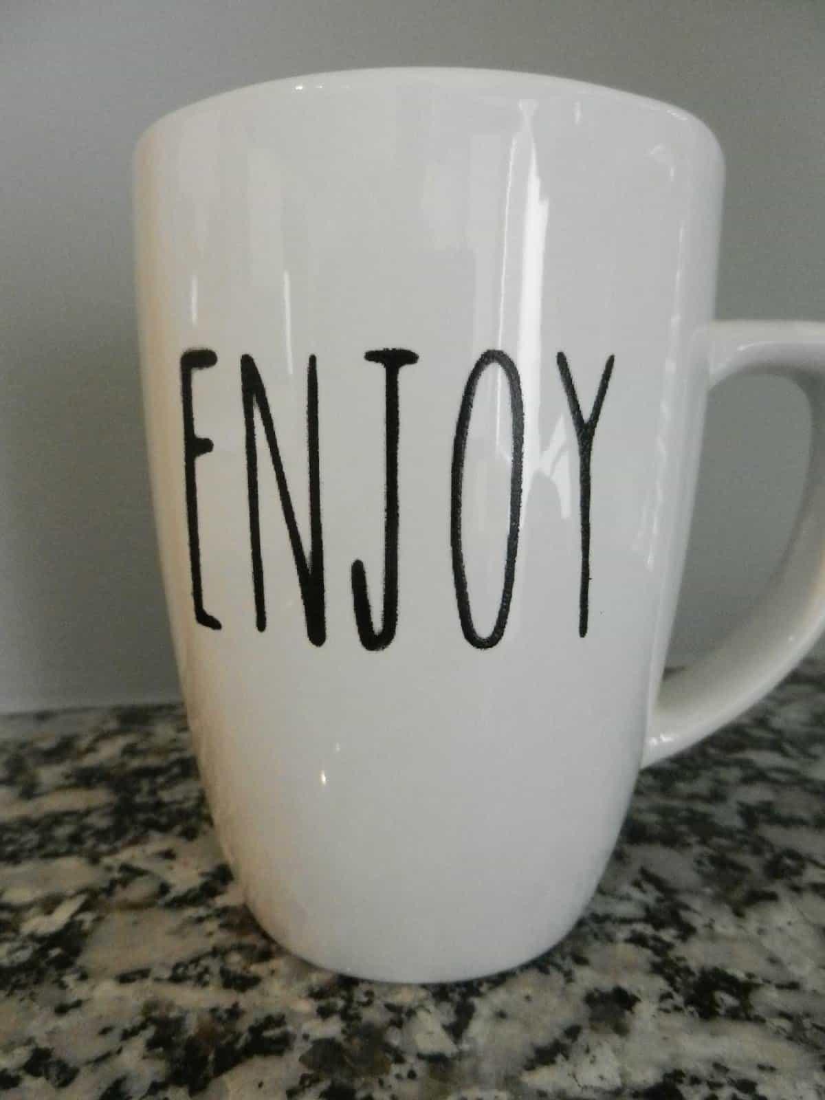 stencil on mug
