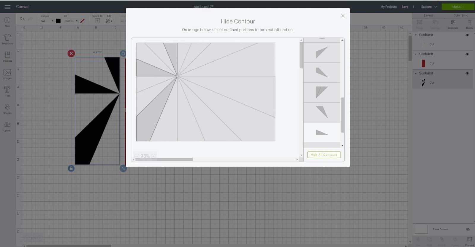 Using Contour in Cricut Design Space Sunburst scrapbook layout