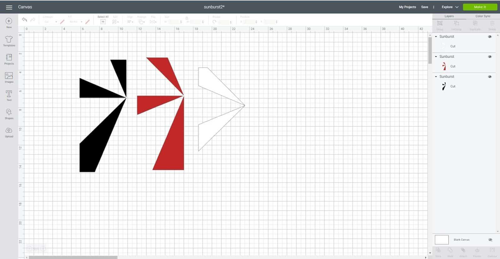 Duplicate and contour to create layers in Cricut Design Space Sunburst scrapbook layout
