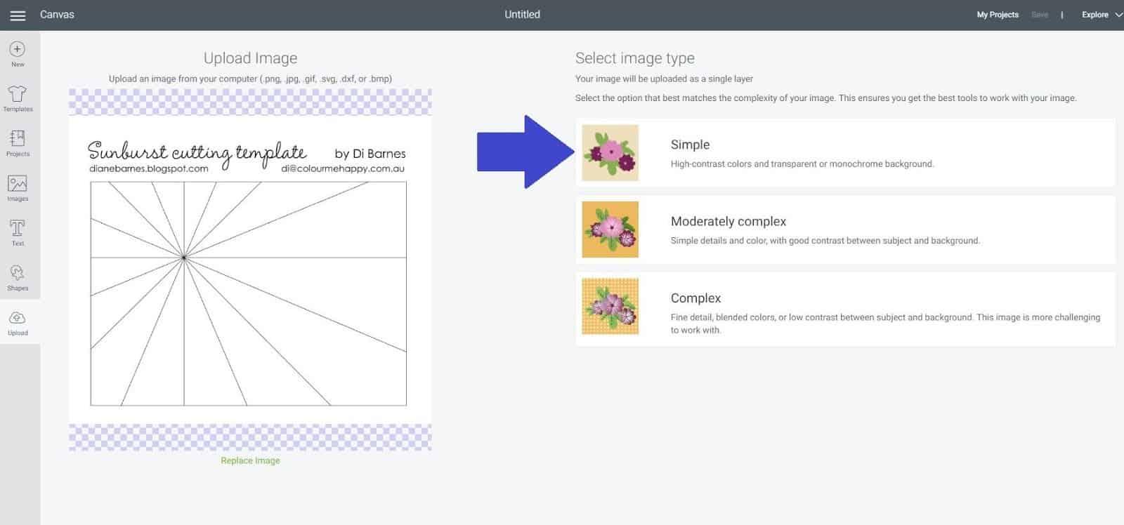 Upload Sunburst scrapbook layout