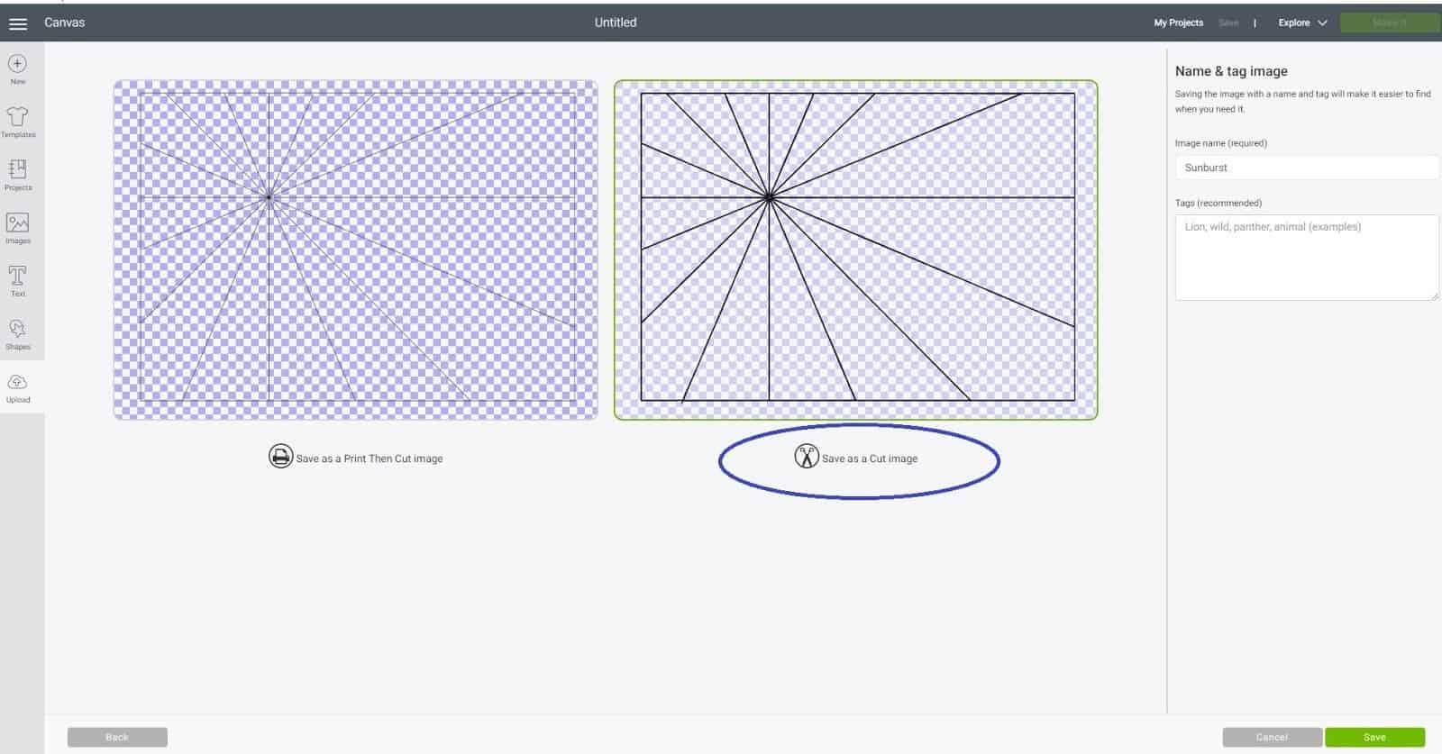 Save as a cut file in Cricut Design Space Sunburst scrapbook layout