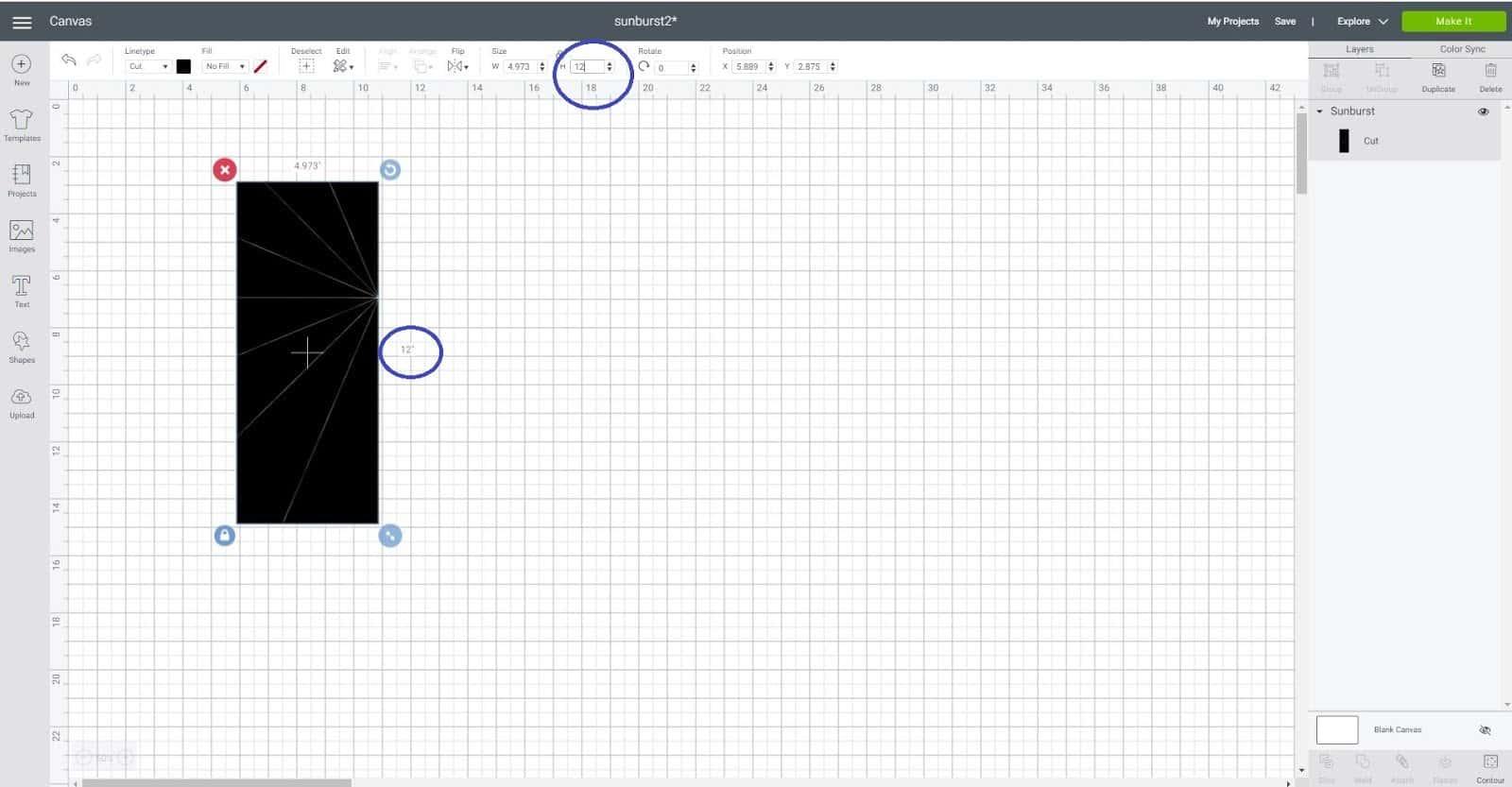 Change the size Cricut Design Space Sunburst scrapbook layout