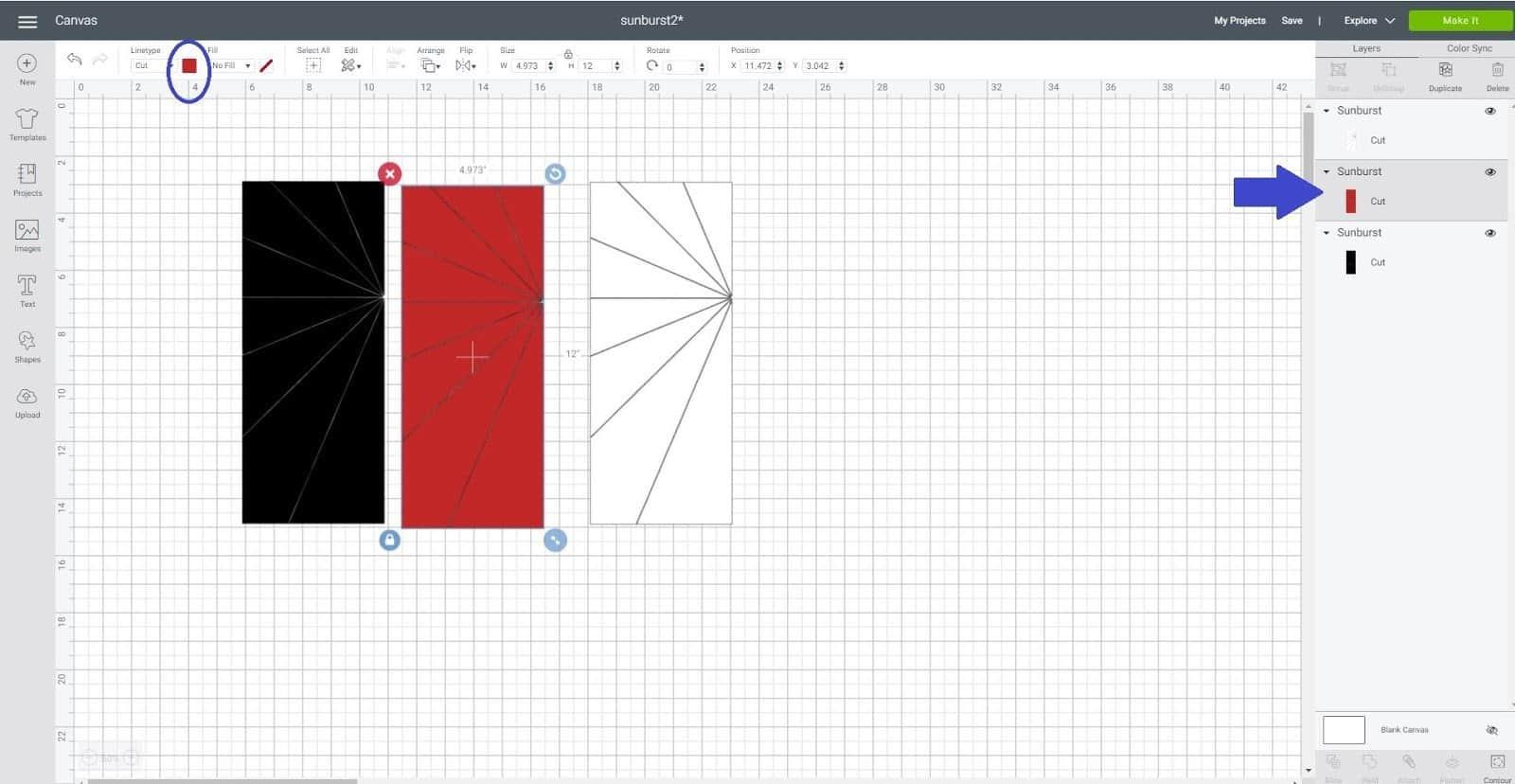 Duplicate and contour in Cricut Design Space Sunburst scrapbook layout
