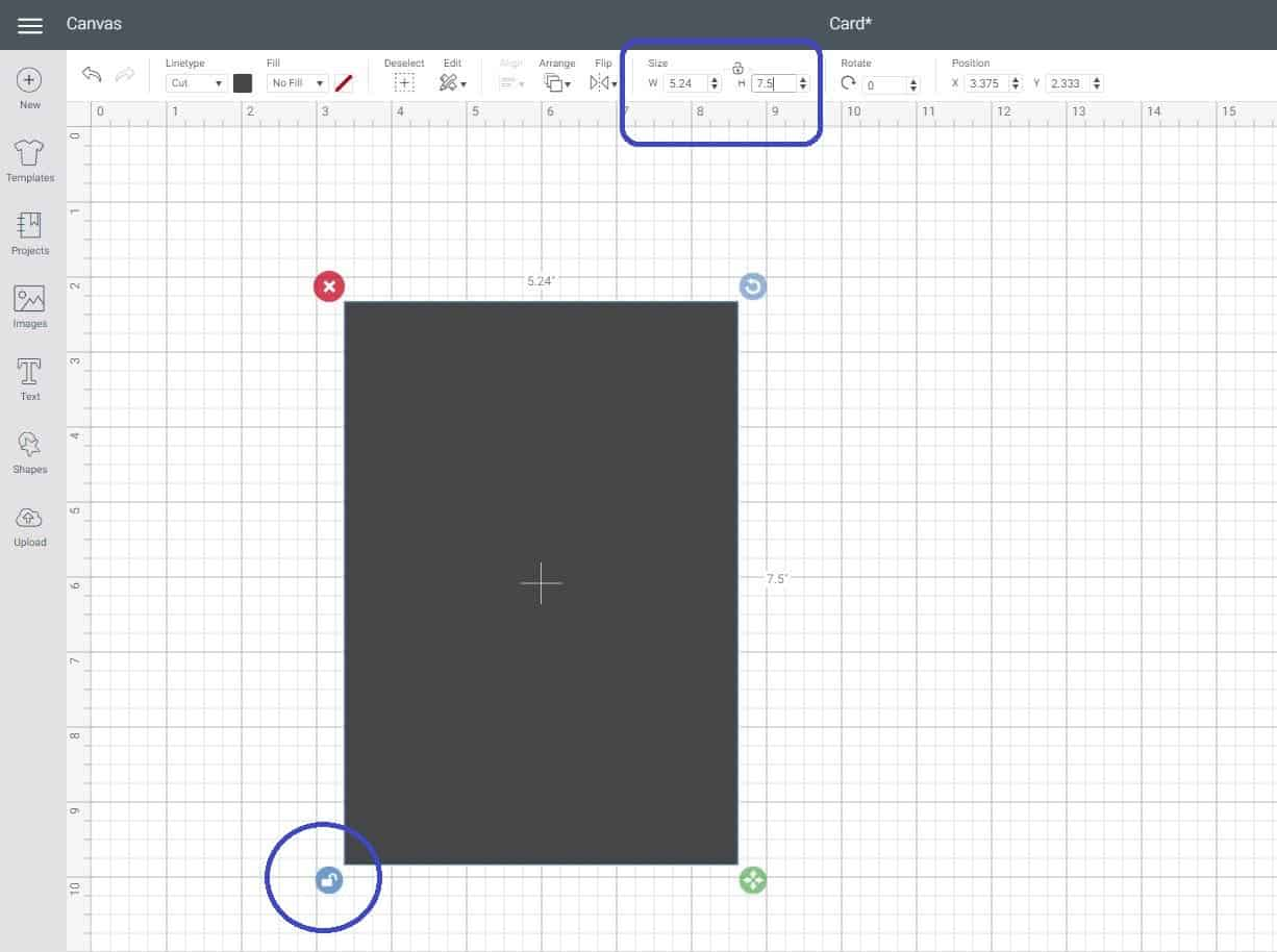 Unlock a shape to make a square into a rectangle in Cricut Design Space