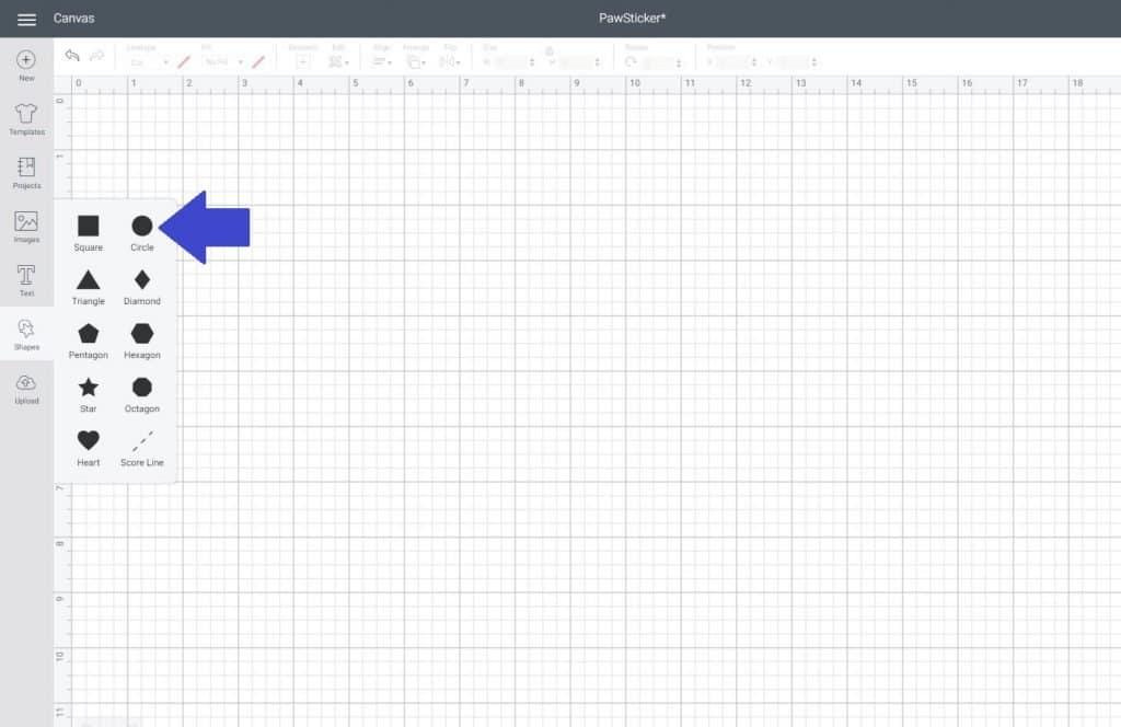 insert a shape in Cricut Design Space